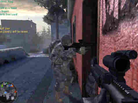 Screengrab from America's Army depicting a team of soldiers preparing to clear a house.
