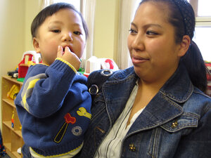 Susan Pham holds her son, Nathan.