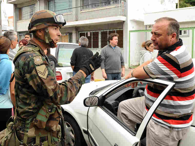 Chilean army officer and civilian in Concepcion, Chile
