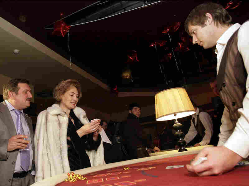 Gamblers at the newly opened Oracle casino in Azove City, in southern Russia