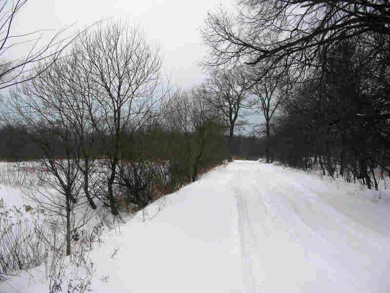 A road leading to the proposed casino site is snow-covered and nearly impassable this time of year.