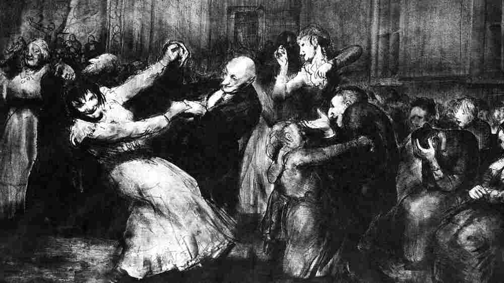 A lithograph of men and women dancing in a mental asylum, 1917.