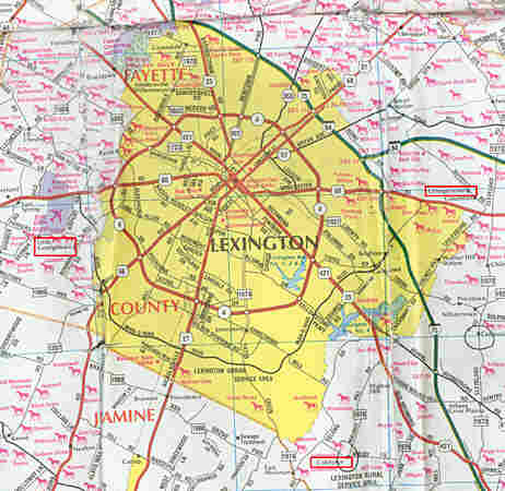 The map used by Hoskins to navigate the area around Lexington, with a few key hamlets in red.