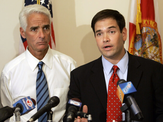 Gov. Charlie Crist (left) trails in the polls against former Florida House Speaker Marco Rubio in the Republican Senate primary.