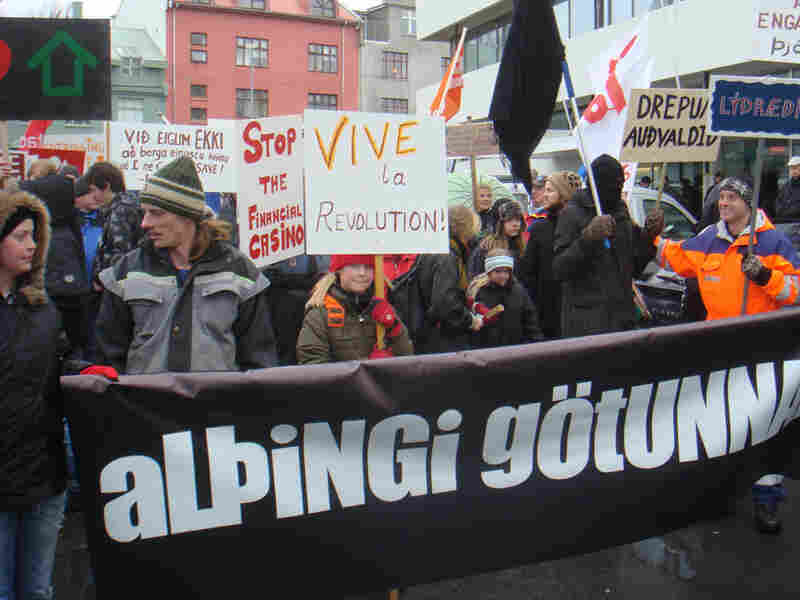 Demonstrators in Iceland take to the streets to protest a proposed debt referendum.