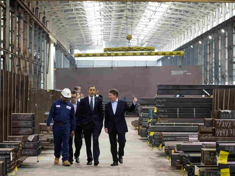 President Obama takes a tour of Chatham Steel
