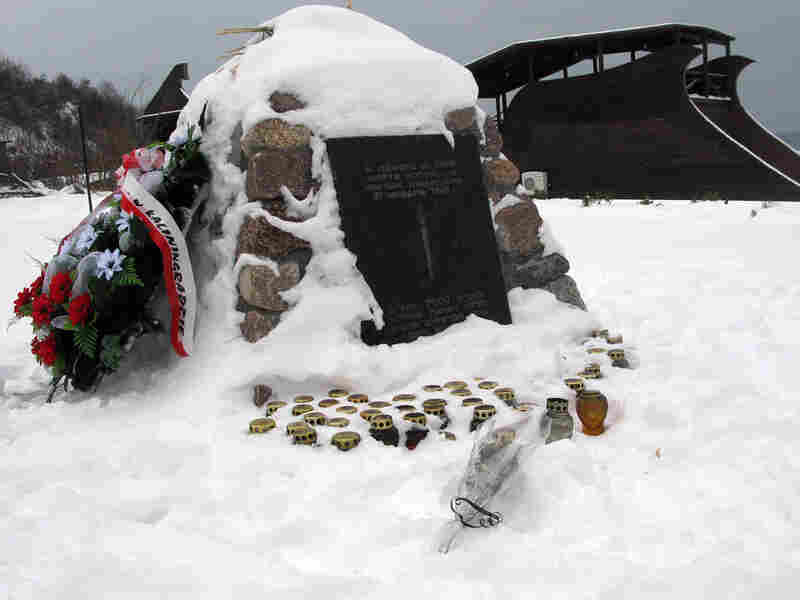 A memorial on the beach in Yantarny, Russia, where thousands of Jews were killed in January 1945.