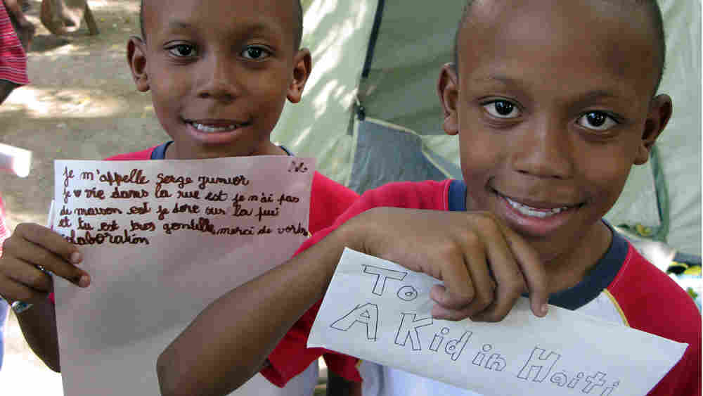 Twins Serge Jr. (left) and Serghinio Dief exchanged letters with pen pals in California.