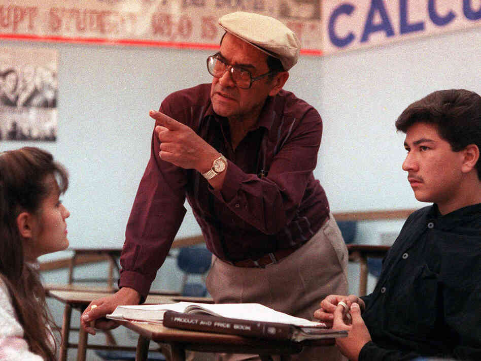 Jaime Escalante is seen here teaching math at Garfield High School in California in March 1988.