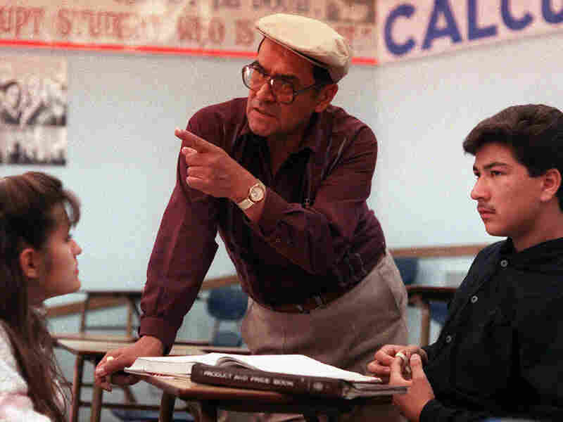 Jaime Escalante is seen here teaching math at Garfield High School in California in March 1988.