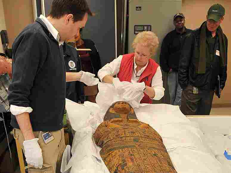 A 3,000-year-old wooden sarcophagus was returned to Egypt.
