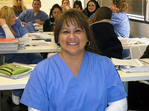 Nursing student Barbara Bosch at CBD vocational college in California where she is studying to become a licensed vocational nurse. Bosch, who is 49, has been unemployed since July 2008. (NPR)