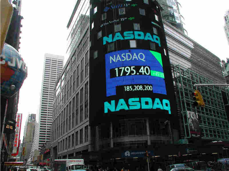 In 2001, after the dot-com bubble burst, NASDAQ's index was displayed in New York's Times Square.