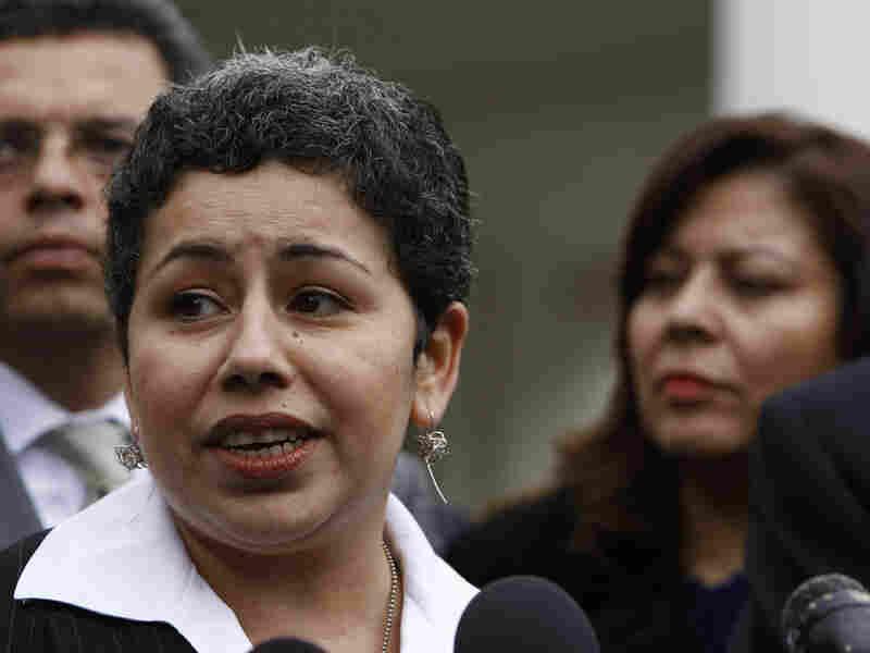 Clarissa Martinez de Castro of the National Council of La Raza talks to reporters.
