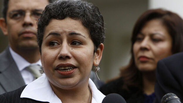 Clarissa Martinez de Castro of the National Council of La Raza talks to reporters after meeting with President Obama to discuss comprehensive immigration reform. (AP)
