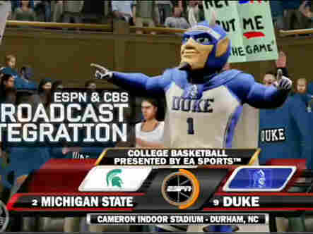 The Duke Blue Devil mascot is seen in the new version of EA Sports' NCAA 2010 March Madness.