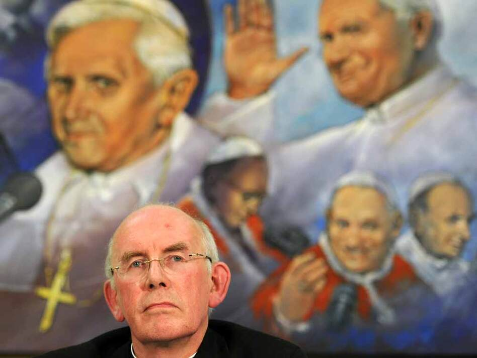 Cardinal Sean Brady, the head of the Catholic church in Ireland, said Monday he would not resign despite admitting he helped the church collect evidence against a child-molesting priest — and never told police about the crimes. Brady is seen here at a press conference following meetings with Ireland's bishops and Pope Benedict XVI last month at the Vatican. (Christophe Simon/AFP/Getty Images)