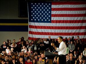 President Obama stumps for his health care overhaul legislation in Strongsville, Ohio, on Monday.