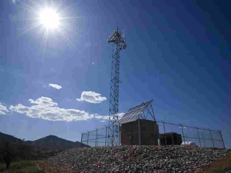 A prototype of a tower for a virtual fence along the U.S.-Mexico border