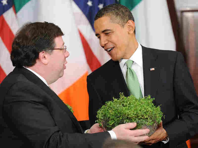 President  Obama and a bowl of shamrocks
