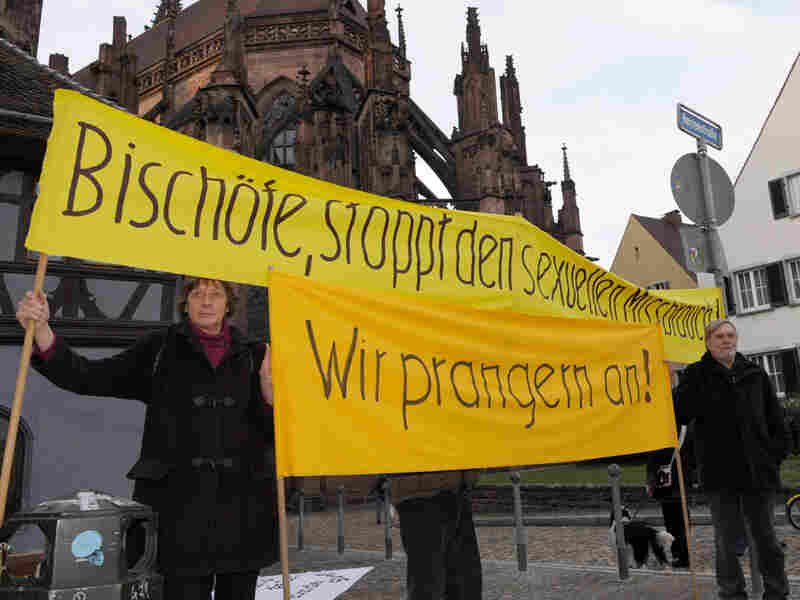 Protesters demonstrate against sexual abuse in the Catholic Church in Freiburg, Germany.