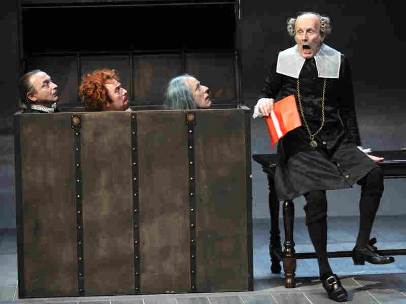 French actors on stage during a rehearsal of Shakespeare's 'Twelfth Night'