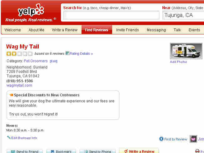 Yelp review page for Wag My Tail pet shop.