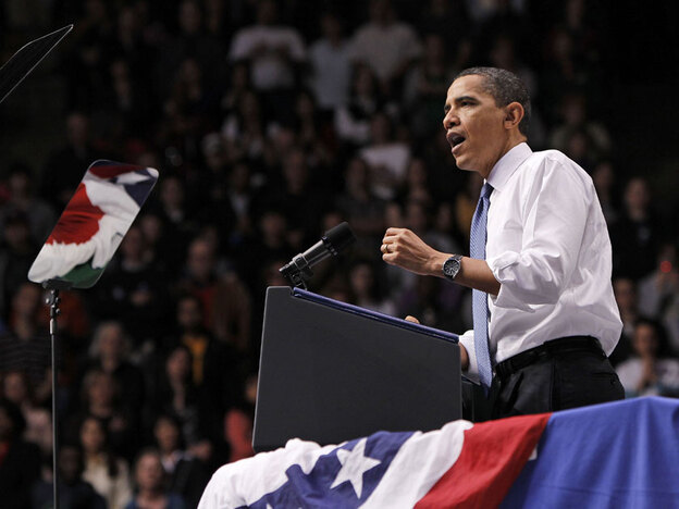 President Obama speaks Friday about health care at George Mason University in Fairfax, Va.