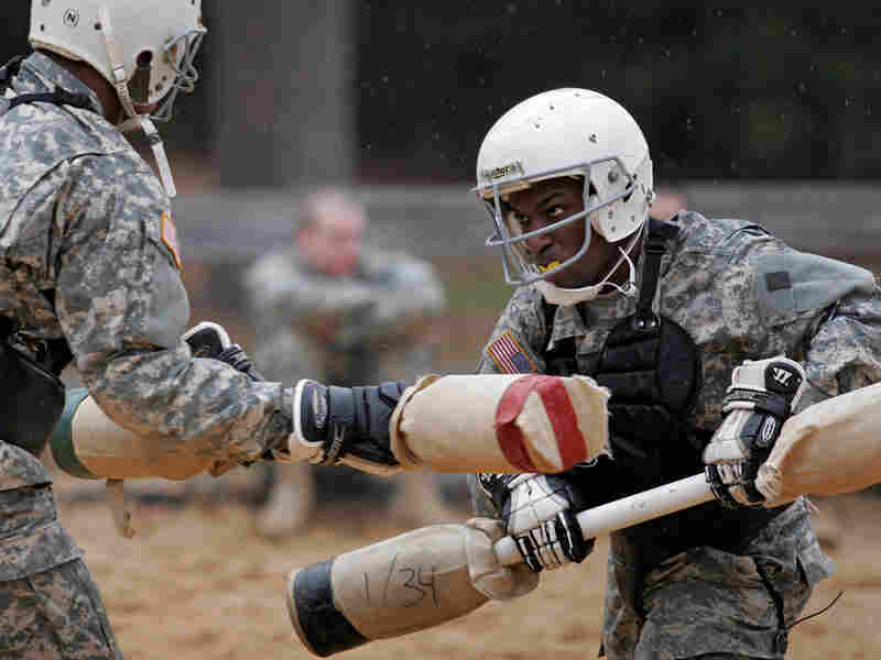 Pugil stick training at Fort Jackson in Columbia, S.C. Brett Flashnick/AP