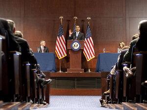 President Obama, flanked by Senate Majority Leader Harry Reid (left) and House Speaker Nancy Pelosi