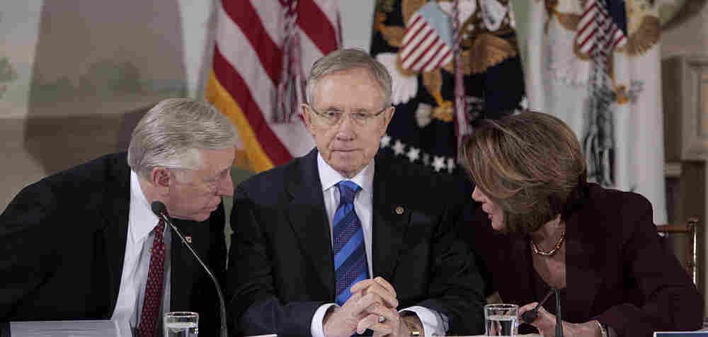 Sen.  Harry Reid with Reps. Steny Hoyer and Nancy Pelosi