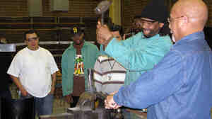 A welding class at Chicago's Dawson Technical Institute.