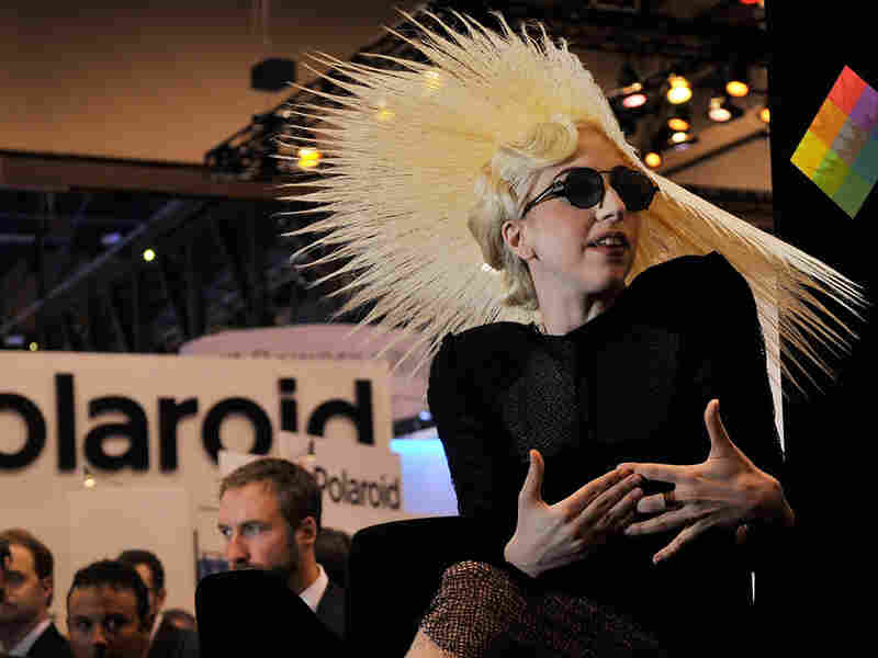 Singer Lady Gaga during an announcement of her long-term partnership with Polaroid.