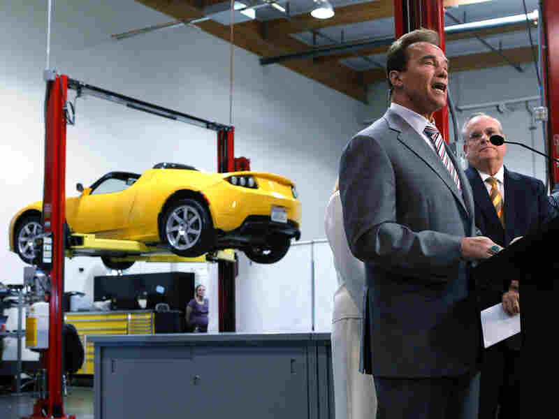 Gov. Arnold Schwarzenegger at the Tesla Motor offices in San Carlos, Calif.