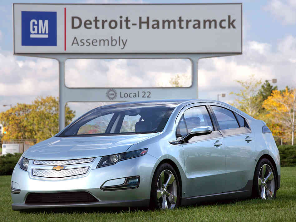 A new Chevrolet Volt electric car at the Detroit-Hamtramck assembly p