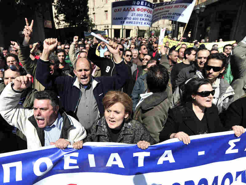 Greek taxi drivers protest in Athens, March 18