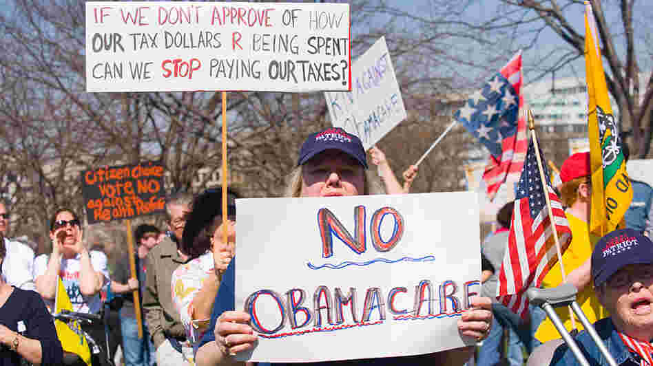 Supporters of the Tea Party movement demonstrate against the health care bill outside the Capitol
