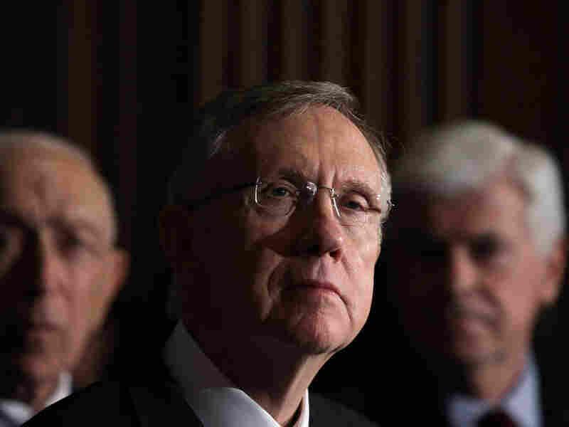 Senate Democratic leaders Frank Lautenberg, Harry Reid and Christopher Dodd
