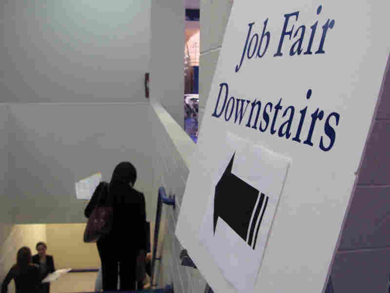Recent and soon-to-be college grads attended a jobs fair at American University.