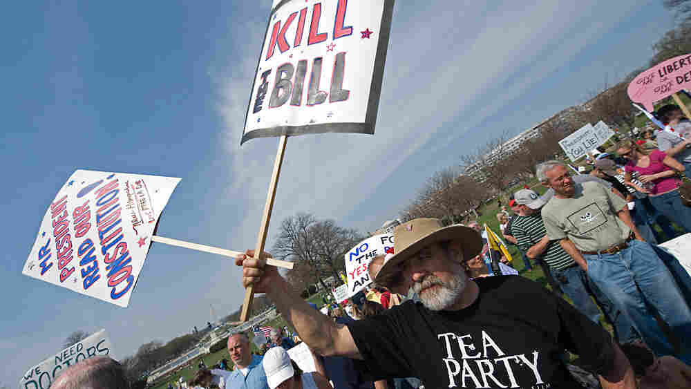 A supporter of the Tea Party movement holds a sign outside the US Capitol as they demonstrate in Was