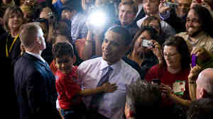 Obama at the University of Iowa Field House in Iowa City, Iowa. Saul Loeb/AFP/Getty Images