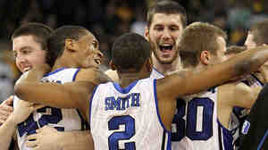 The Duke Blue Devils celebrate a win against the Baylor Bears during the 2010 NCAA tournament.