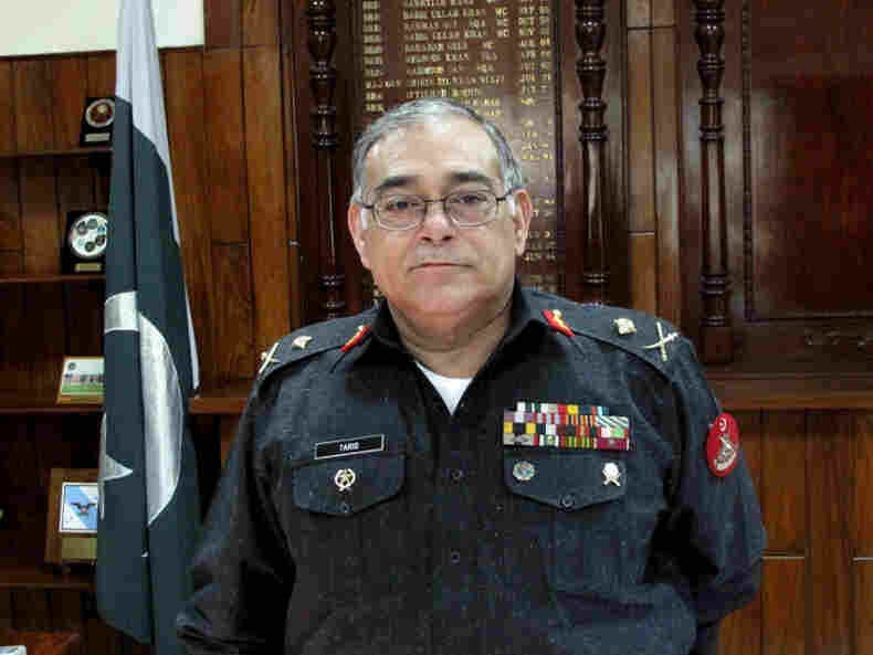 Maj. Gen. Tariq Khan stands in his office at the headquarters of the Frontier Corps