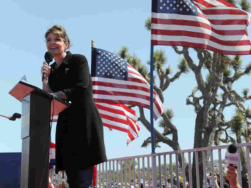 Sarah Palin speaks at a Tea Party rally in Searchlight, Nev., on Saturday