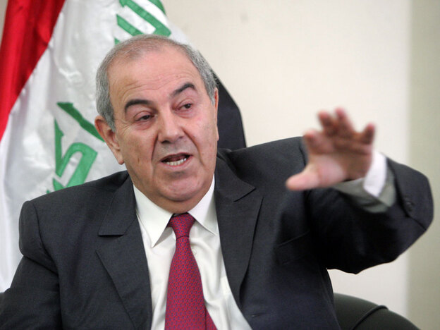 The announcement this week that six winning candidates in Iraq's March 7 parliamentary election have ties to the former regime of Saddam Hussein and must be disqualified jeopardizes the slim margin of victory for Iraq's former prime minister, Ayad Allawi (shown here in February).