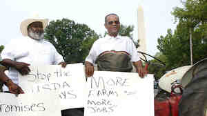 Farmers from Manning, S.C., at a 2002 National Black Farmers Association protest
