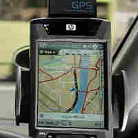 GPS on dashboard of car