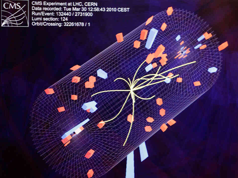 A diagram of the activity during a high-energy collision inside the Large Hadron Collider.