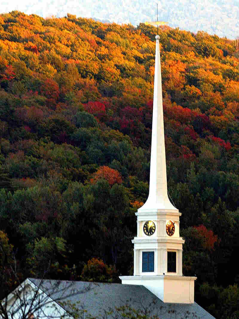 A church steeple in Stowe, Vermont