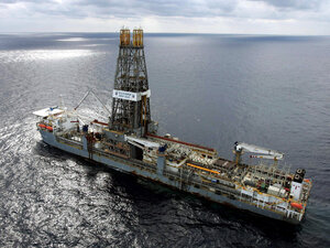 The Discoverer Deep Seas drill ship sits off Louisiana's coast in the Gulf of Mexico in 2006.